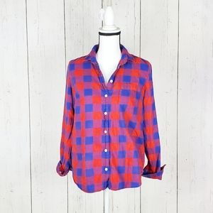 J. Crew Factory Flannel Checkered Red Blue Top